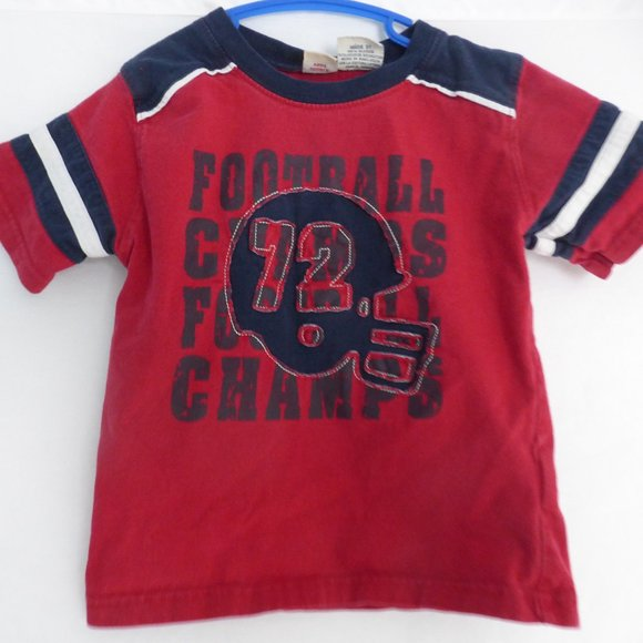 FADED GLORY, toddler boy, 3T, red football tee GUC